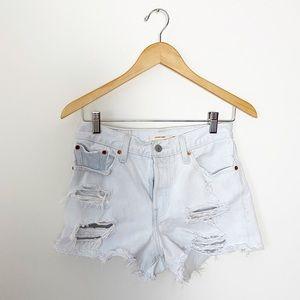 Levi's White Distressed Denim Wedgie Shorts 28